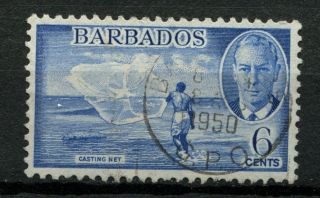 Barbados 1950 Sg 275,  6c Kgvi Casting Net A50775 photo