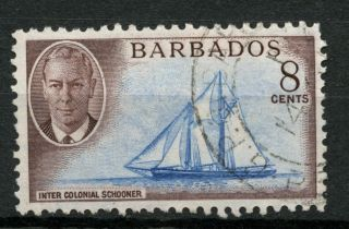 Barbados 1950 Sg 276,  8c Kgvi Ship Schooner A50774 photo