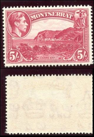 Montserrat 1942 Kgvi 5s Rose - Carmine Perf 14 Mlh.  Sg 110a.  Sc 101. photo