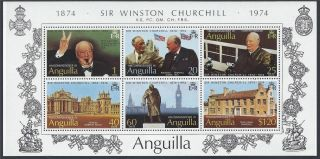 Mini Sheet - Anguilla 1974 Birth Centenary Of Sir Winston Churchill Ms187 photo