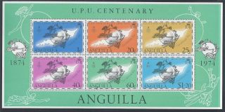 Mini Sheet - Anguilla 1974 Centenary Of U.  P.  U.  Ms194 photo