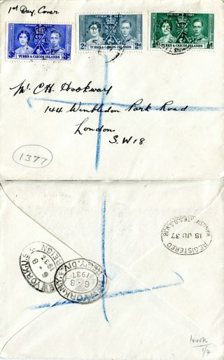 Turks & Caicos Islands 1937 Coronation Plain First Day Cover photo