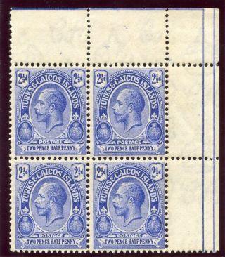Turks & Caicos Is 1921 Kgv 2½d Blue Block Of Four.  Sg 158 Var.  Cw G29. photo