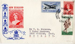 Zealand 1955 International Stamp Exhibition First Day Cover Auckland Shs photo