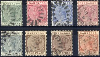 Barbados - Sg 89 - 102 (between) - 1882 - 86 - Definitive Values - photo