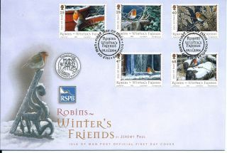 2004 Isle Of Man Robins Winter ' S Friends First Day Cover Refy17 photo