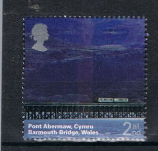 Train Crossing Barmouth Railway Bridge Cymru Wales On 2004 Gb Stamp - Nh photo
