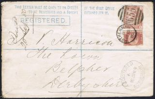 1870 1/2d Cds With 1d Venetian On 2d Registered Rotherham To Belper photo