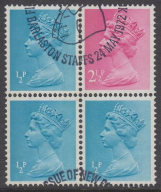 Gb - 1972 ½p Turqouise - Blue Lb Part Pane photo