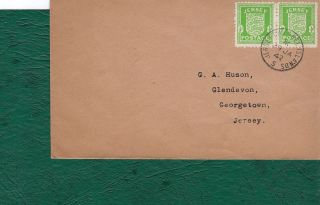 Channel Islands.  Jersey 1941 - 43.  1/2d Pair On Postally Cover 29.  1.  1942. photo