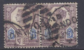 Gb Sg207a Qv 5d Dull Purple & Blue Pair Our Ref K254 Jubilee Issue Die Ii photo