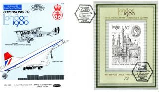 7 May 1980 London 1980 Stamp Exhibition M/s Concorde Flown Benham Bocs 20 Fdc photo
