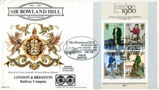 24 October 1979 Rowland Hill M/sheet Benham Bocs 16 First Day Cover Brighton Shs photo