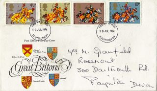 10 July 1974 Great Britons Post Office First Day Cover South Devon Fdi photo