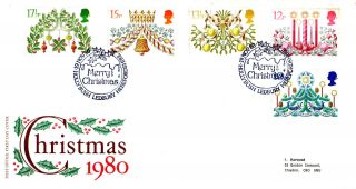 19 November 1980 Christmas Post Office First Day Cover Hollybush Ledbury Shs photo