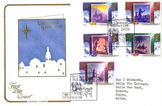 15 November 1988 Christmas Cotswold First Day Cover Bath Mail Coach Run Shs photo