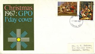 27 November 1967 Christmas Gpo First Day Cover London Wc Fdi photo