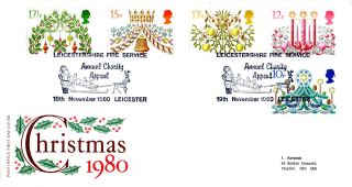 19 November 1980 Christmas Post Office First Day Cover Leicestershire Fire Shs photo