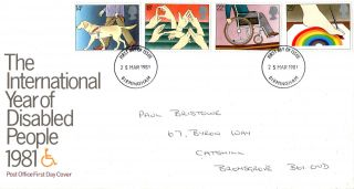 25 March 1981 Year Of Disabled People Post Office First Day Cover Birmingham Fdi photo