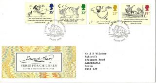 6 September 1988 Edward Lear Royal Mail First Day Cover London N7 Shs photo