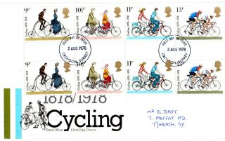 2 August 1978 Cycling Centenary In Gutter Pairs Post Office First Day Cover Fdi photo