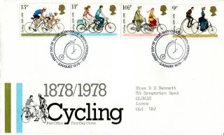 2 August 1978 Cycling Centenary Post Office First Day Cover Harrogate Shs (a) photo