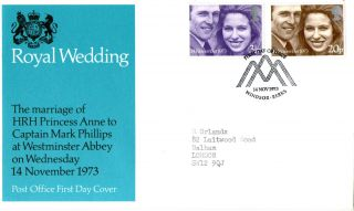 14 November 1973 Royal Wedding Post Office First Day Cover Windsor Shs photo