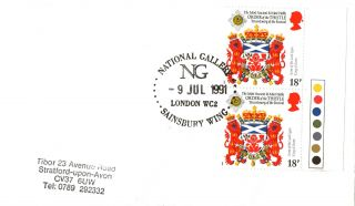 9 July 1991 Heraldry Cover National Gallery Sainsbury Wing London Wc2 Shs (13) photo