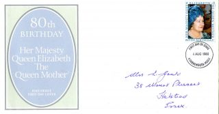 4 August 1980 Queen Mother 80th Birthday Po First Day Cover Bournemouth Fdi photo