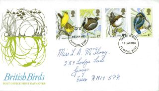 16 January 1980 British Birds Post Office First Day Cover Romford Fdi photo