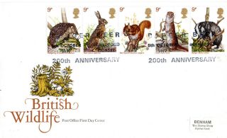5 October 1977 British Wildlife Post Office First Day Cover Badger Beer Shs photo