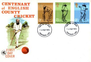 16 May 1973 County Cricket Wessex First Day Cover Canterbury Kent Ccc Fdi photo