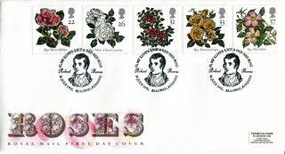 16 July 1991 Roses Royal Mail First Day Cover Robert Burns Slogan Shs photo