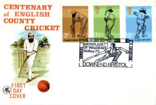 16 May 1973 County Cricket Wessex First Day Cover Dowend Bristol Shs photo
