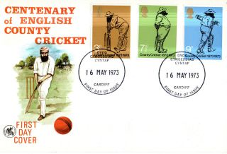 16 May 1973 County Cricket Wessex First Day Cover Cardiff Glamorgan Ccc Fdi photo