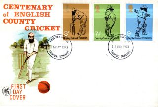 16 May 1973 County Cricket Wessex First Day Cover Taunton Somerset Ccc Fdi photo