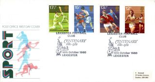10 October 1980 Sport Centenaries Post Office First Day Cover Leicester Shs photo