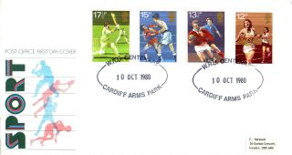 10 October 1980 Sport Centenaries Post Office First Day Cover Cardiff Arms Park photo