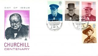 9 October 1974 Sir Winston Churchill Centenary Mercury Fdc Raf Honington Shs photo
