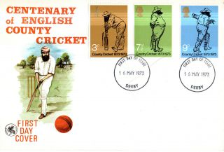 16 May 1973 County Cricket Wessex First Day Cover Derby Derbyshire Ccc Fdi photo