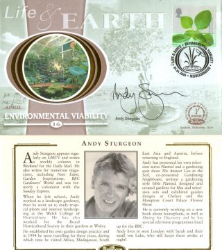 4 April 2000 Life And Earth Benham Small Silk Fdc Signed By Andy Sturgeon photo