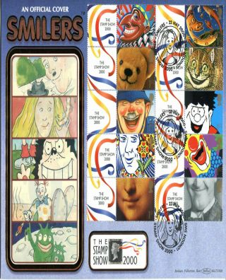 22 May 2000 Smilers Sheet Benham Blcs 182 O/s First Day Cover London Sw5 Shs (v) photo