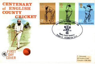 16 May 1973 County Cricket Wessex First Day Cover Kennington Surrey Ccc Shs photo