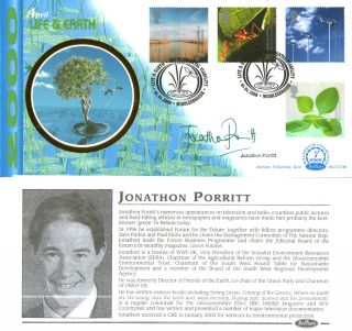 4 April 2000 Life And Earth Benham Blcs 178b Fdc Signed By Jonathon Porritt Shs photo