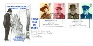 9 October 1974 Sir Winston Churchill Centenary Fdc Appropriate Oldham Shs photo
