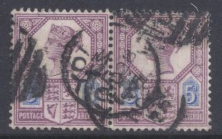 Gb Sg207a Qv 5d Dull Purple & Blue Pair Our Ref K255 Jubilee Issue Die Ii photo