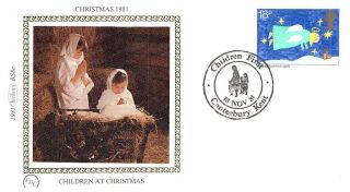 (52616) Fdc Benham Silk - Christmas Angels Kids Painting Canterbury 1981 Pstmark photo