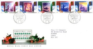 15 November 1988 Christmas Royal Mail First Day Cover Bureau Shs (a) photo