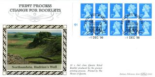 1 December 1998 £1 Nvi Booklet Pane Cyl Benham D321 First Day Cover Windsor photo