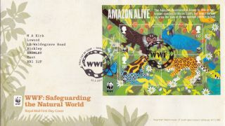 22 March 2011 Amazon Alive Miniature Sheet Royal Mail First Day Cover Wwf Shs photo